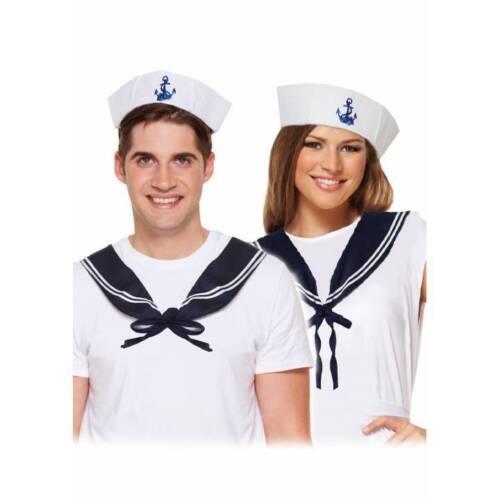 Marin fille//garçon Set Doughboy Chapeau /& Bleu Marine écharpe Hen Stag Night Party Fancy Dress