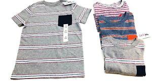 Boys-039-STAMPATO-A-Righe-T-shirt-con-tasca-Cat-amp-Jack-grigio-blu-marino-Blu-Arancione-Nuovo