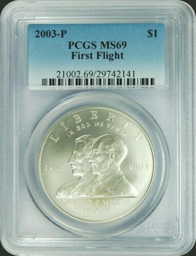 2003-P PCGS MS69 First Flight Dollar New PCGS Label