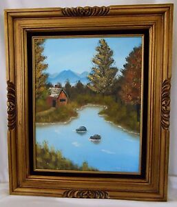 Helen-Muessig-Oil-Painting-Gold-Gilt-Frame-Countryside-Barn-River-Tree-Landscape