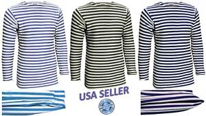 Mens-T-Shirt-Long-Sleeve-TELNYASHKA-Russian-Military-Uniform-Cotton-Striped-Tee