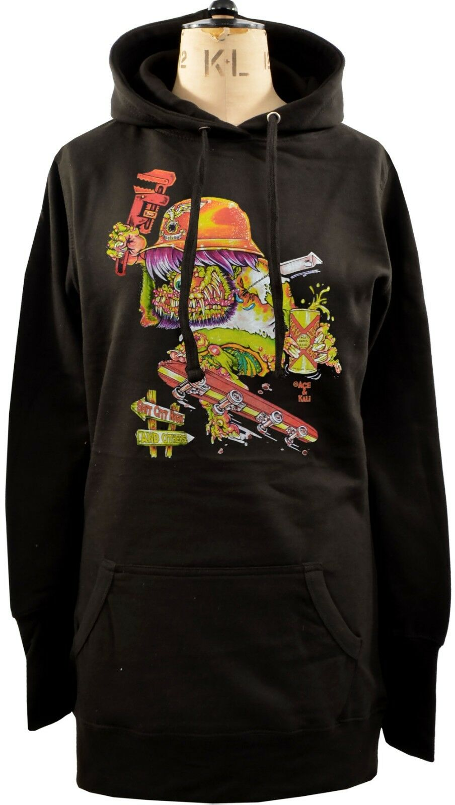 WOMENS HOODIE DRESS JOHNNY ACE SKATEBOARD FINK ED ROTH MONSTER 80s CUTURE S-XL