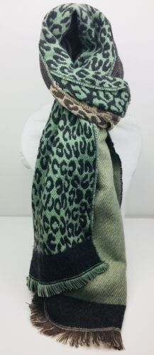 New Oversized Coloured Leopard Print Scarves Long Warm and Reversible UK