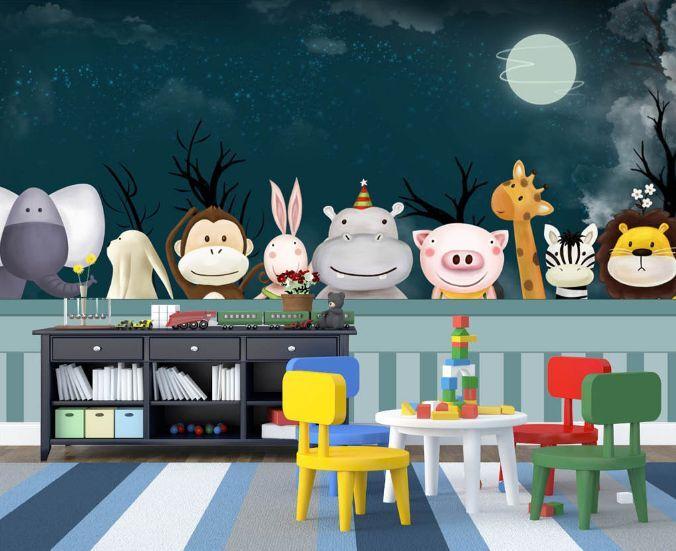 3D Nette Karikaturtiere 48 Fototapeten Wandbild Fototapete BildTapete Familie DE