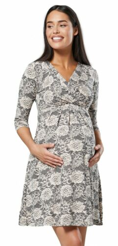 Happy Mama WOMEN/'S Maternity Nursing 2in1 A-Line Abito Maniche A 3//4 1118