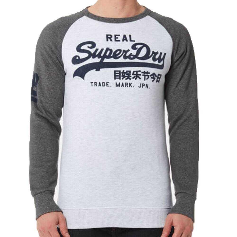 Superdry  Herren Vintage Raglan Sweatshirt Ice Marl Grau Hoodie Crew Ship Worldwide