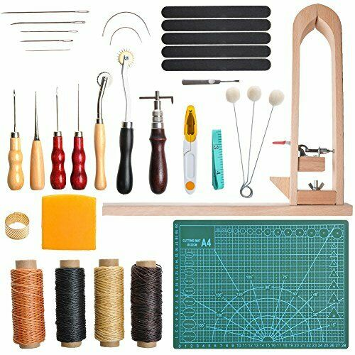 33 Pieces DIY Leather Craft Tools Hand Stitching 33Pcs KIt with Stitching Pony