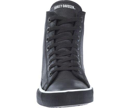 Harley Davidson Baxter Biker Men Shoes High Top Sneaker Black White Leather Bike