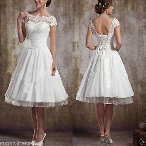 Cap Sleeve Bridal Gown Tea Length Wedding Dress Backless Plus Size Custom 4 6 8
