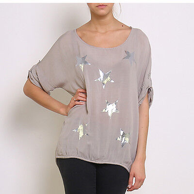 Clever Taupe Silver Star Print Silky One Size 3/4 Sleeve Top Rrp £45.00 Modische Muster