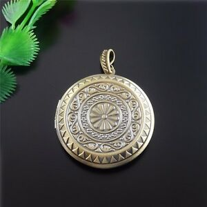3X-Antike-Bronze-Ton-Messing-Runde-Blume-Muster-Medaillon-Anhaenge-Charme-51548