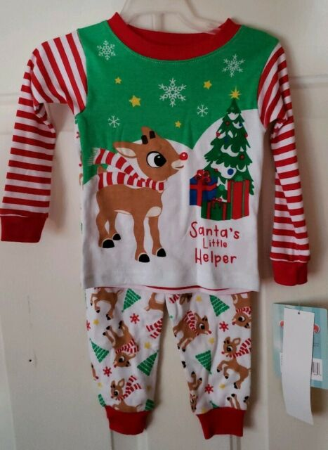 3T Infant /& Toddler Boys Rudolph Red /& Gray Pajamas Size 12m