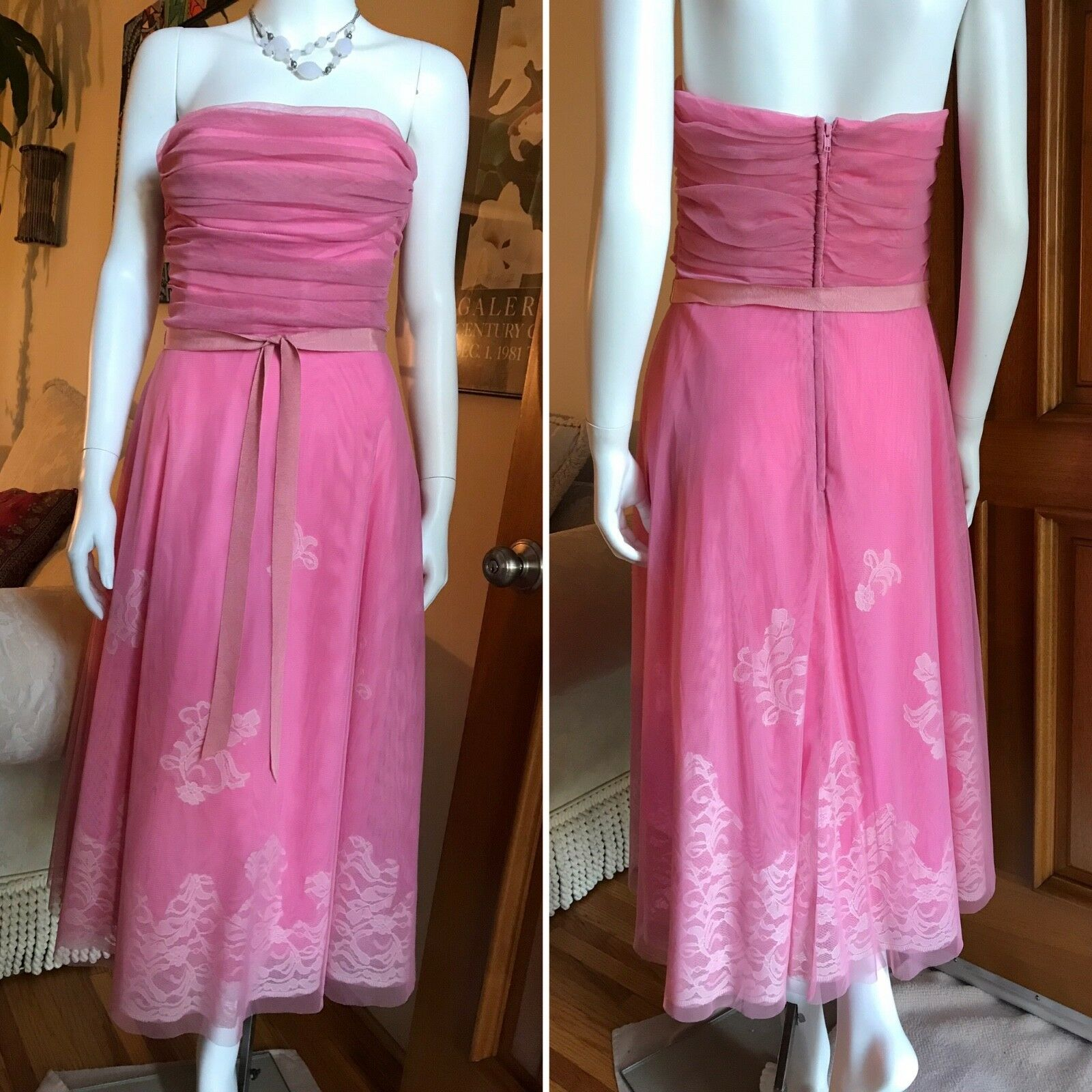 280 NWT BCBG Max Azria 10 M M M Strapless Pink Dress Romantic 50s Dusty EASTER Lace 6b15a7