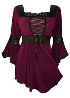 Plus Size Gothic Burgundy Black Renaissance Lacing Up Corset Top 1x 2x 3x 4x 5x