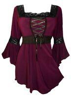 Plus Size Gothic Burgundy Black Renaissance Lacing Up Corset Top 1x 2x 3x 4x 5x