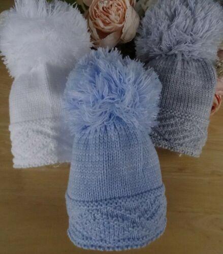 Baby Boy Girl Grandi Pom Pom Bianco Blu Grigio Lavorato a Maglia Cappello Invernale Diamond 0-6m