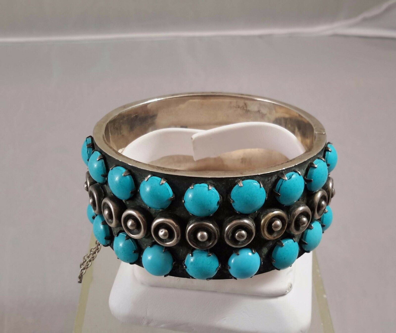 MID CENTURY MODERN STERLING SILVER TURQUOISE BRA… - image 1