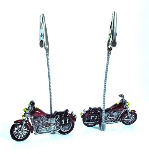 Two Pewter Motorcycle Memo Clips Photo Holders  Desk Decor