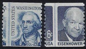 "1304 / 1401 - 2 Misperf Error / EFO Line Singles ""Washington/Eisenhower"" Mint NH"