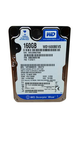 "Western Digital WD Scorpio Blue WD1600BEVS 160GB 2.5/"" SATA I Laptop Hard Drive"