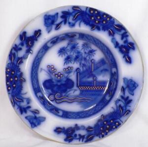 Oriental-Flow-Blue-Soup-Bowl-Charger-Samuel-Alcock-Gold-HIghlights-Antique