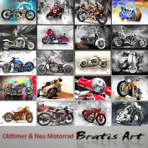 Harley Davidson Motorrad Oldtimer Deko Bilder Abstrakt Wandbild 1378A