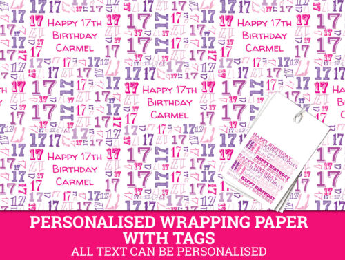 Pink Gift Wrap with a number 17 Personalised Happy 17th Birthday Wrapping paper