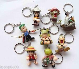 RT1 LOT OF 8 One Piece Pirates Keychain Key Ring Strap Pandant Mini FIGURE