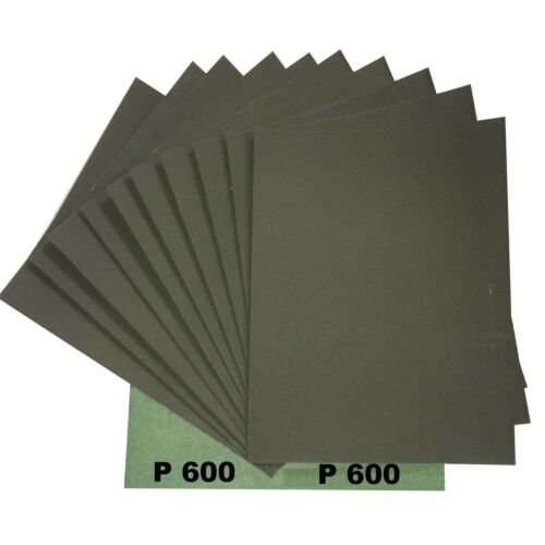 5 Blatt von  P600 Wasserschleifpapier GRÜN für Autolack 230x280mm