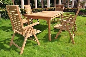7 PC TEAK RECLINING GARDEN OUTDOOR PATIO FURNITURE ASHLEY FOLDING COLLECTION