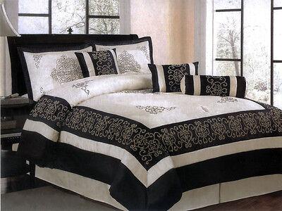 7-Piece Satin Flocking Royal Floral Comforter Set Ivory Black Bed in a Bag Queen