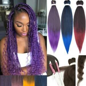 UK Pre-Stretched Box Braids Purple Jumbo Braiding Hair Extensions Twist Curly