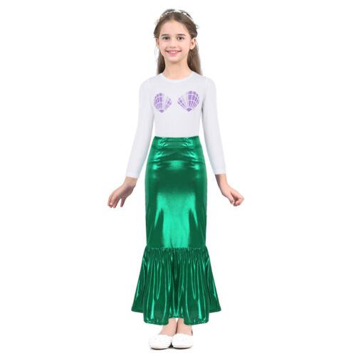Girls Kids Mermaid Princess Dress Cosplay Costume Halloween Party Maxi Skirt