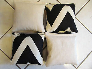 Quality-Cornhole-Bags-corn-hole-Limited-Edition-Black-Natural-Chevron-Set-of-8