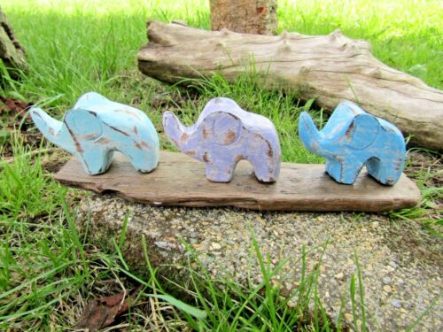 Fair Trade Hand Carved Made Wooden Three Elephant Statue Ornament Sculpture