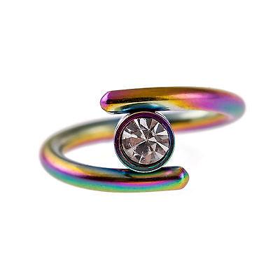 Rainbow Titanium Spiral Belly Ring Eyebrow Lip Ear CartilageTragus Helix 14g