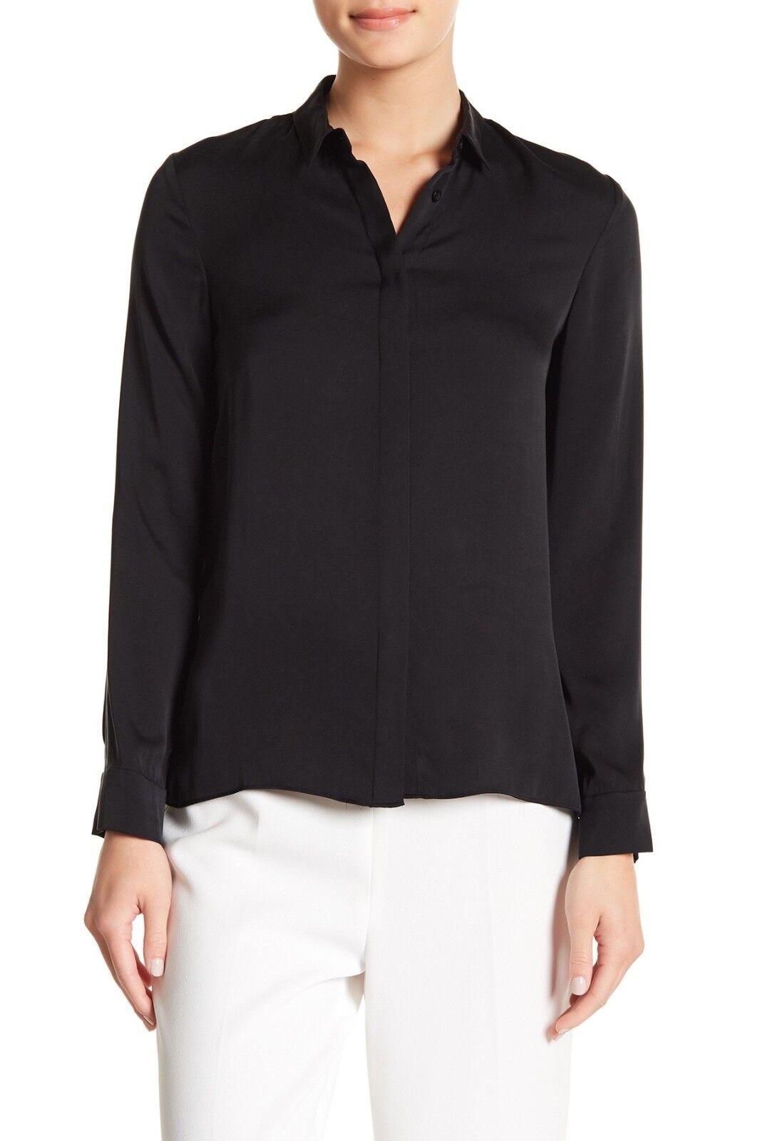 NWT  Alice + Olivia  Willa  Small Collar Placket Top in schwarz - Größe XS
