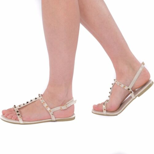 Womens Ladies Studded Spiky Flat Summer Holiday Fashion Party Sandals Shoes Size