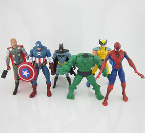 New 6pcs Marvel The Avengers Hulk Thor Captain America Batman Spiderman Figure