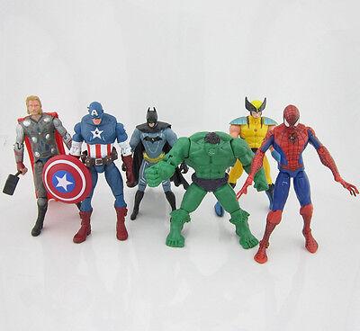 New 6pcs Marvel The Avengers Hulk Thor Captain America Batman Spiderman Figure