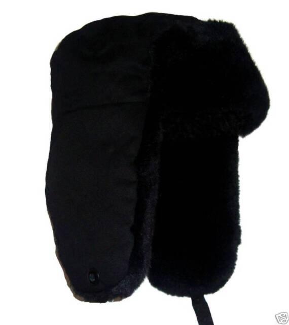 RUSSIAN FUR TRAPPER HAT Mens Medium winter cossack Gents black ushanka  camping befcd7fc29c