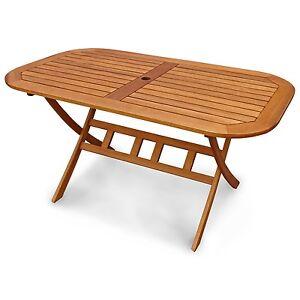 Gartentisch Aus Holz Oval Zusammenklappbar Bis 6 Personen