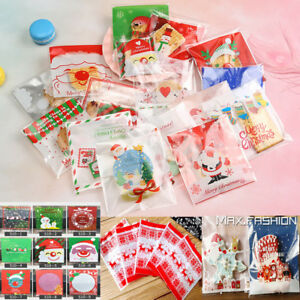 Details About 100 Christmas Cellophane Cello Treat Bags Sweet Biscuit Cookie Party Favour Gift
