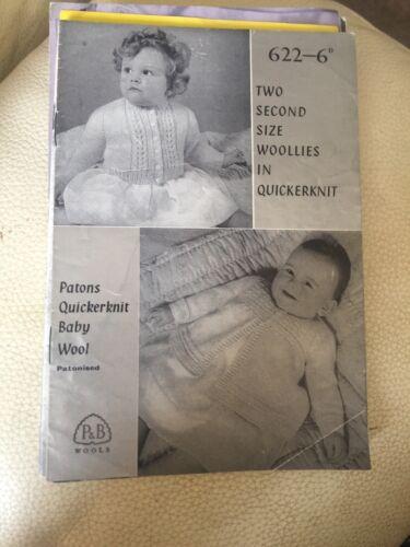 Vintage de P /& B Tejer patrón no 622 Bebé Abrigo Cárdigan matiné 6-12 meses