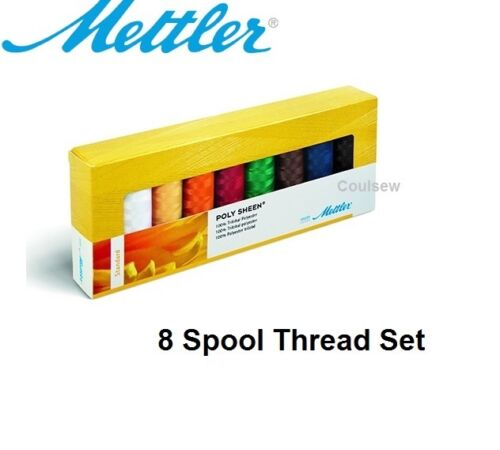 8 Basic Colours Mettler Machine Embroidery Thread box set Poly Sheen