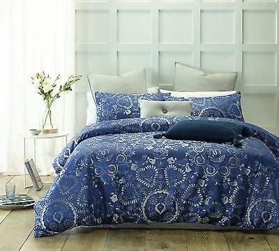 QUEEN KING Accessorize Lisbon Blue Woven Jacquard 300TC Quilt Doona Cover Set