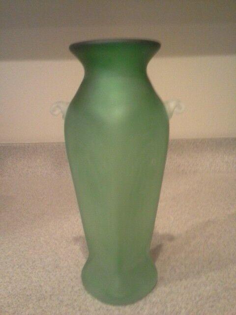 Vintage Art Deco Green Depression Satin Glass Vase Hand Blown Ebay