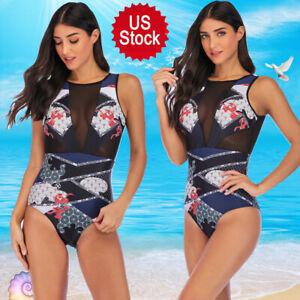 US-Women-Mesh-Bikini-Swimsuit-One-piece-Monokini-Beach-Swimwear-Zipper-Plus-Size