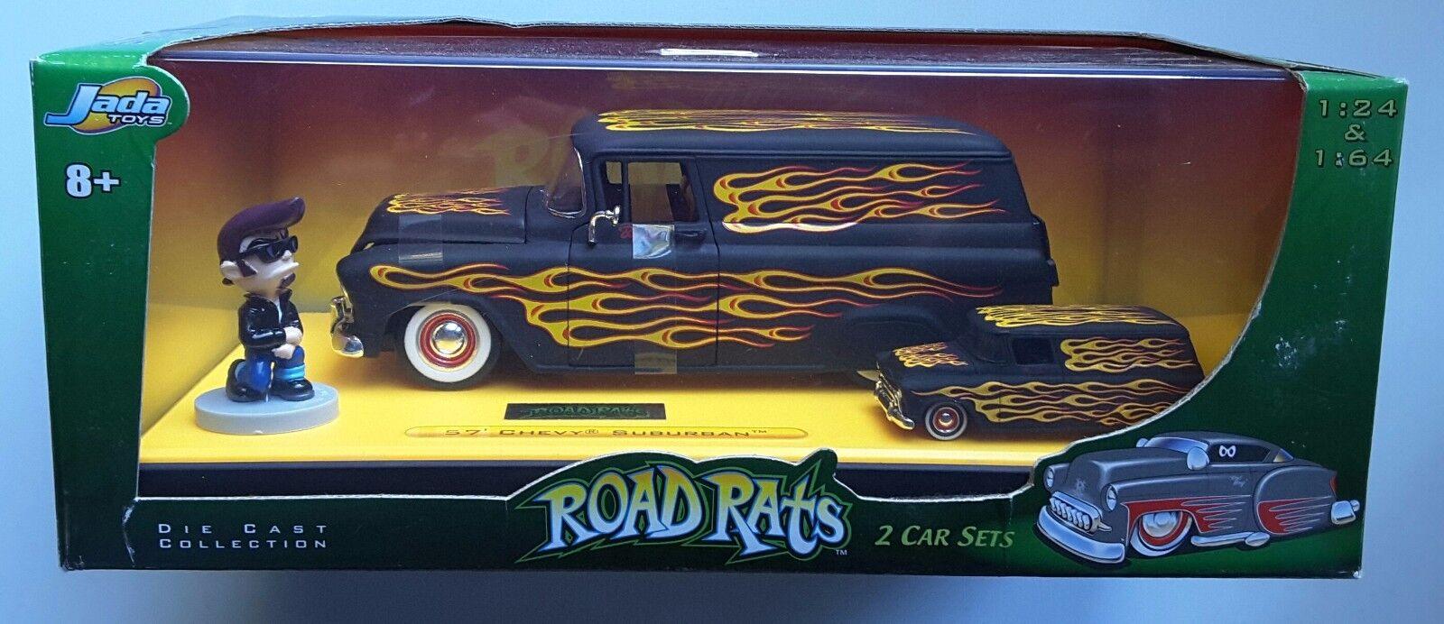 Seltene straße ratten 1957 - panel wagen jada chevy druckguss 2 auto setzen 1 64   24