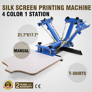 2f4e4712 Image is loading 4-Color-1-Station-Silk-Screen-Printing-Machine-